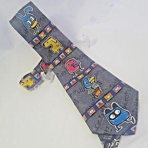 """60"""" Tamagotchi Neck Tie, Vintage 1997, multicolor"""
